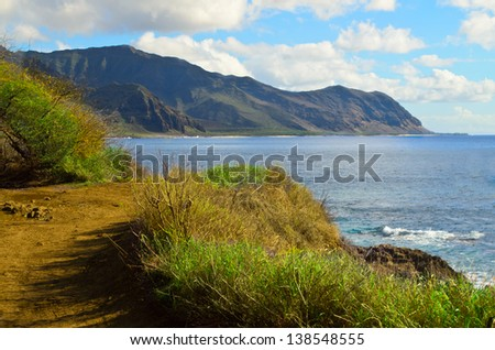 Hiking path on Oahu - stock photo