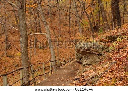 Hiking path to burial mounds and effigy mounds in Effigy Mounds National Monument, Iowa
