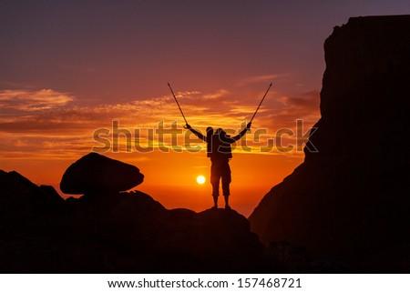 Hiking scene - stock photo