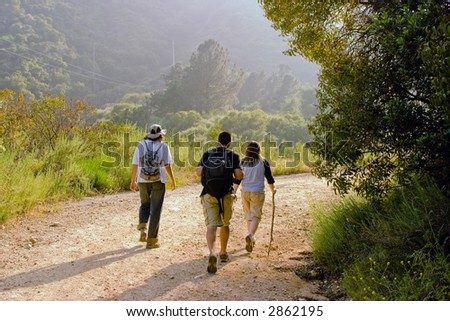 Hiking Scene. - stock photo