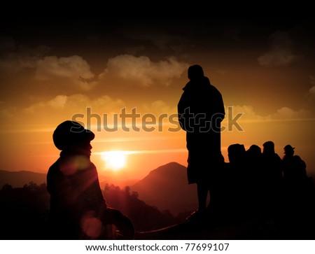 Hiking scene in Asia - stock photo