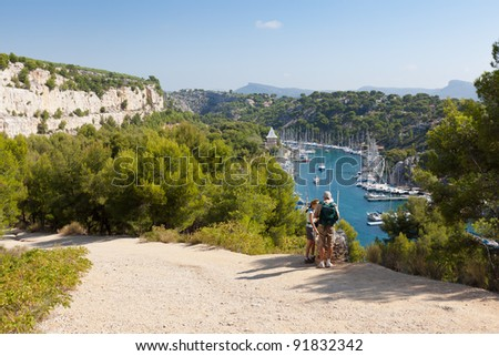 Hiking the beautiful calanques of Cassis in France - stock photo