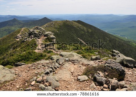 Hiking the Franconia Notch Ridge Trail #2 - stock photo