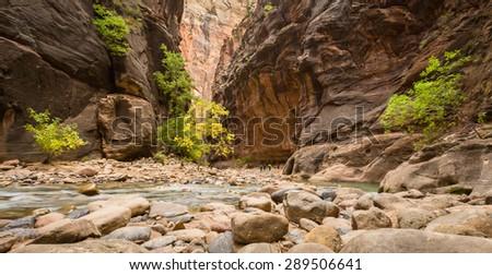 Hiking the Narrows - stock photo