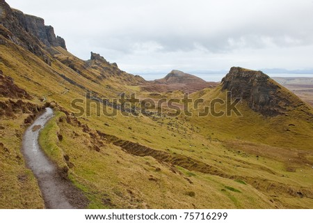 Hiking the Quairing mountains - stock photo