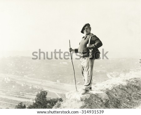 Hiking to the top - stock photo