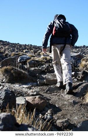 Hiking - Tongariro National Park, New Zealand - stock photo