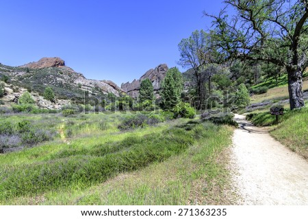 Hiking trail at the Pinnacles National Park in Monterey County, California, near the Salinas Valley, on the California Central Coast