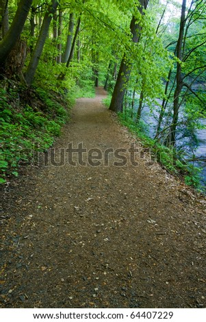 Hiking Trail by the River leading through a canopy of lush green trees. - stock photo