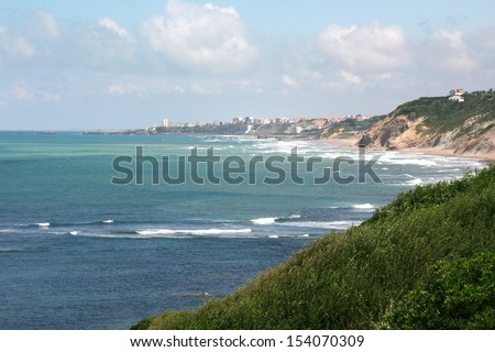 Hiking trail from Guethary to Saint jean de luz, Pays Basque, France. Nature trail from Guethary to Saint jean de luz, Pays Basque, France. - stock photo