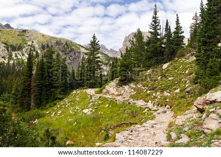 Hiking Trail High in the Colorado Rocky Mountains - stock photo
