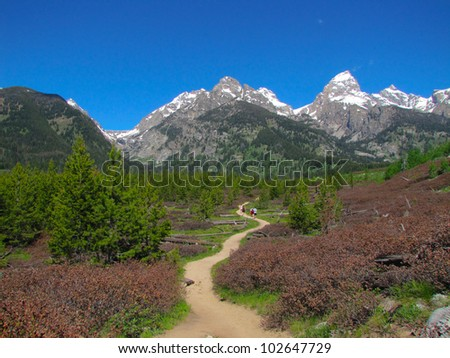 hiking trail in Grand Teton National Park - stock photo