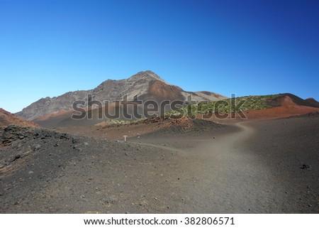 Hiking trail in Haleakala Volcano, Maui, Hawaii - stock photo