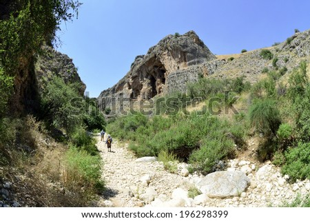 Hiking trail in Nahal Amud national park, Israel. - stock photo