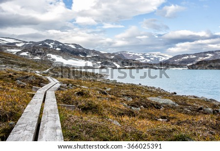 Hiking Trail in Sweden - Lapland  - stock photo
