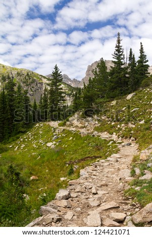 Hiking trail in the Colorado Mountains - stock photo