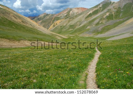 Hiking Trail in the Rocky Mountains, Colorado - stock photo