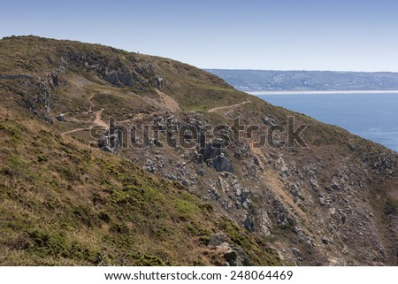 Hiking trail on Cliffs - Nez de Jobourg, peninsula Cotentin, Basse Normandy, France - stock photo