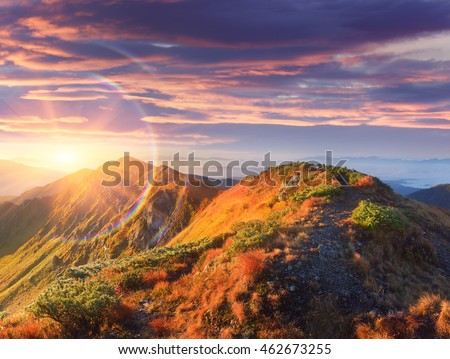Mountain Trail Stock Images RoyaltyFree Images Vectors - This man hikes up the transylvanian mountains every morning to photograph sunrise