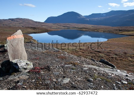 Hiking trail panorama in Laponia - stock photo