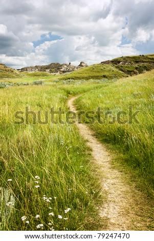 Hiking trail through Badlands in Dinosaur provincial park, Alberta, Canada - stock photo