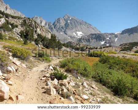 Hiking trail through mountains - Bishop Pass in Sierra Nevada, California - stock photo