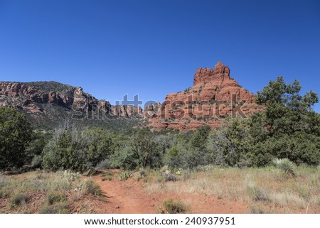 Hiking trail to Bell Rock at Sedona Arizona. - stock photo