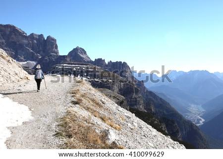 hiking trail to Tre Cime di Lavaredo of Dolomites alps, Italy  - stock photo