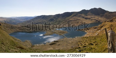 Hiking trails to the summit of Mount Snowdon, Snowdonia, Wales. - stock photo