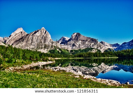 Hiking views Kananaskis Lakes area Peter Lougheed Provincial Park - Lawson Lake - stock photo