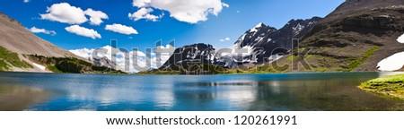Hiking views Kananaskis Lakes area Peter Lougheed Provincial Park - Maude Lake and Beatty Glacier - stock photo