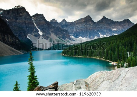 Hiking views Moraine Lake Banff National Park - stock photo
