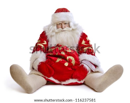 hilarious and funny Santa Claus sits on a white background - stock photo