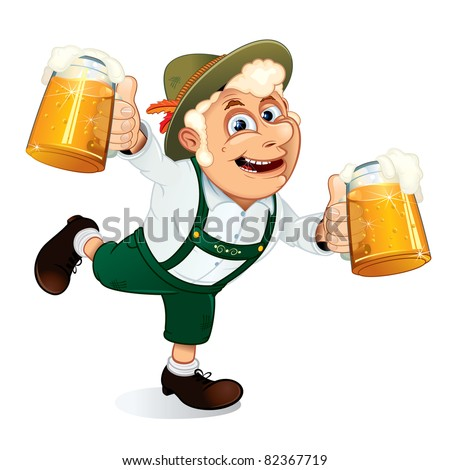Hilarious Drunk Guy, Dancing with beer at a Oktoberfest festival (version vector plz see at my gallery) - stock photo