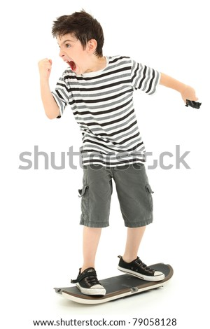 Hilarious 8 year old boy nerd rage, angry at skateboarding video game. - stock photo