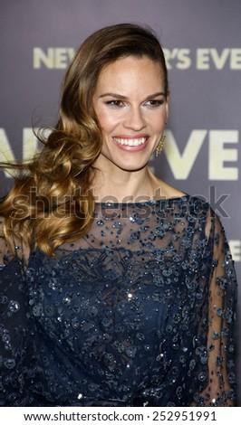 "Hilary Swank at the Los Angeles Premiere of ""New Year's Eve"" held at the Grauman's Chinese Theater in Los Angeles, California, United States on December 5, 2011.  - stock photo"