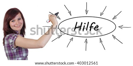 Hilfe - german word for help - young businesswoman drawing information concept on whiteboard.  - stock photo