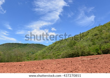 Hill and Blue sky with clouds in rural areas, Thailand
