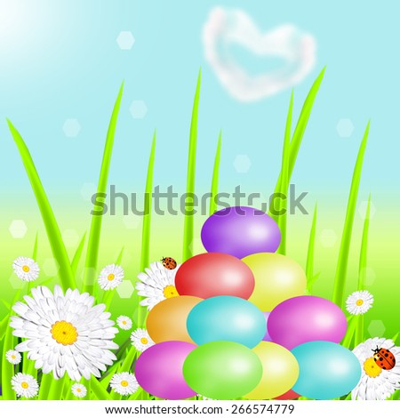 Hill from color Easter eggs against the nature - stock photo
