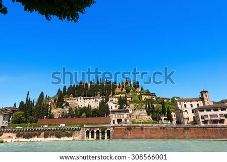 Hill of St. Peter - Verona Italy / Views of the hills north of Verona with the famous roman theater. Verona, Veneto, Italy - stock photo