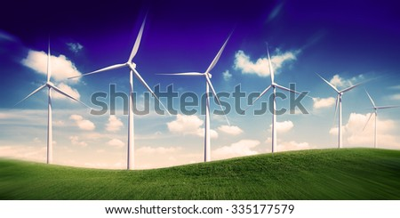 Hill Wind Turbine Green Outoors Environmetal Conservation Concept - stock photo