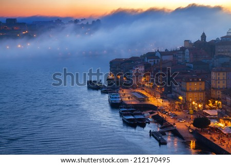 hill with old town of Porto at night, Portugal - stock photo