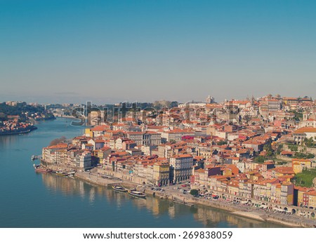 hill with old town of Porto at sunny day, Portugal, retro toned - stock photo