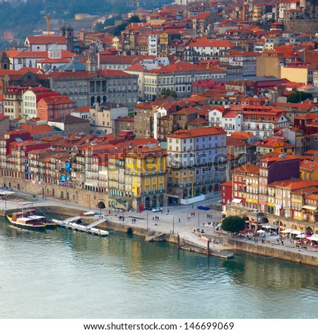 hill with old town of  Porto at sunset close up, Portugal - stock photo