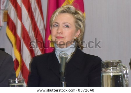 Hillary Clinton at a press conference - stock photo