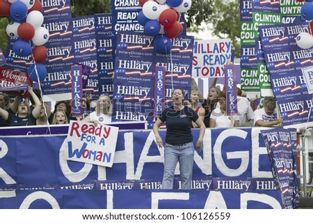 Hillary Clinton for President supporters with signs at Drake University, August 19, 2007, as part of the Presidential Debate and Primaries, Des Moines, Iowa - stock photo