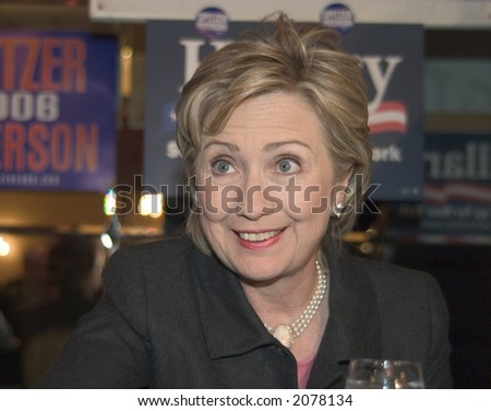 Hillary Clinton, New York Senator and former First Lady, wife of President Bill Clinton - stock photo