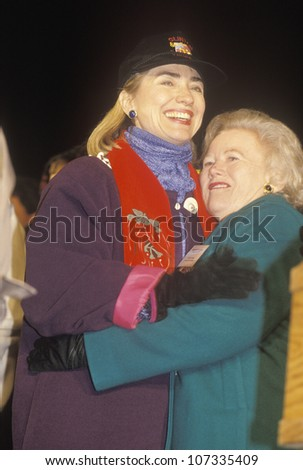Hillary Rodham Clinton at a New Mexico campaign rally in 1992 on Bill Clinton's final day of campaigning in Albuquerque, New Mexico - stock photo