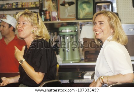Hillary Rodham Clinton meets town's people at Dee's Restaurant during the Clinton/Gore 1992 Buscapade campaign tour in Corsicana, Texas