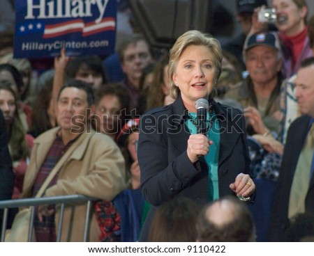 Hillary Rodham Clinton speaking at a presidential campaign event in Albuquerque, New Mexico